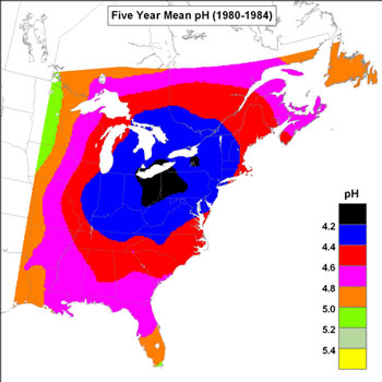 Acidity of Rain in Eastern North America 1981984