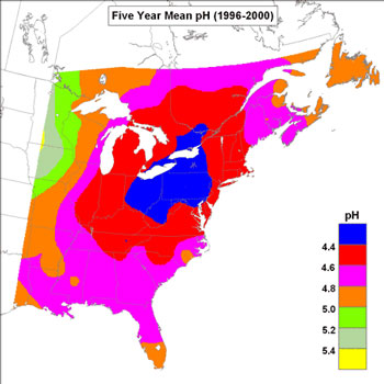 Acidity of Rain in Eastern North America 1996-2000